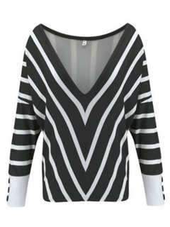 Milanoo / Women Pullover Sweater Khaki Stripes V Neck Long Sleeves Sweaters