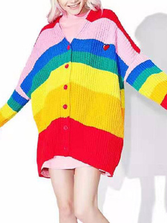 Milanoo / Sweaters Cardigans Color Block Buttons Long Sleeves V Neck Layered