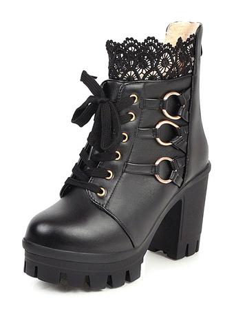 Milanoo / Sweet Lolita Boots Black Lace Round Toe PU Leather Chunky Heel Lolita Footwear