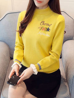 Milanoo / Women Pullover Sweater Pleated High Collar Long Sleeves Acrylic Sweaters