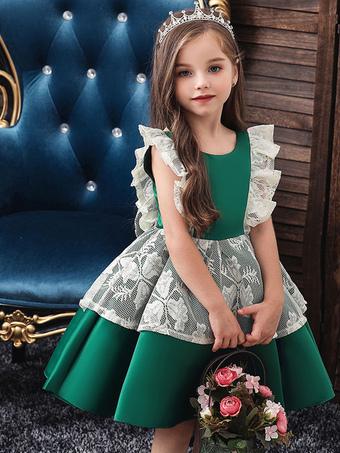 Milanoo / Flower Girl Dresses Jewel Neck Tulle Sleeveless Knee Length Princess Silhouette Bows Kids Social Party Dresses