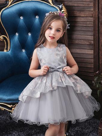 Milanoo / Flower Girl Dresses Jewel Neck Polyester Cotton Sleeveless Knee Length Princess Silhouette Flowers Formal Kids Pageant Dresses