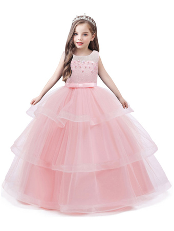 Milanoo / Flower Girl Dresses Jewel Neck Tulle Sleeveless Ankle Length Princess Silhouette Kids Social Party Dresses