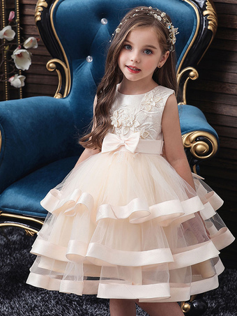 Milanoo / Flower Girl Dresses Jewel Neck Polyester Cotton Sleeveless Knee Length Princess Silhouette Bows Formal Kids Pageant Dresses