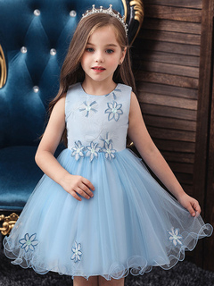 Milanoo / Flower Girl Dresses Jewel Neck Tulle Sleeveless Knee Length Princess Silhouette Flowers Kids Party Dresses
