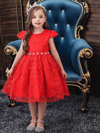 Milanoo / Flower Girl Dresses Jewel Neck Polyester Cotton Short Sleeves Knee Length Princess Silhouette Flowers Kids Social Party Dresses