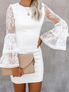 Milanoo / Bodycon Dresses White Long Sleeves Jewel Neck Body-conscious Dress Sheath Dress