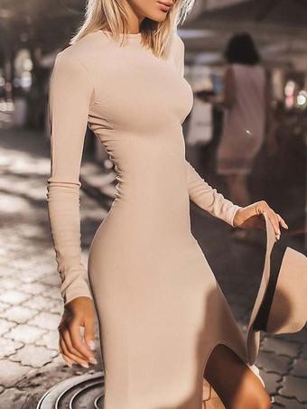 Milanoo / Bodycon Dresses Khaki Long Sleeves Sexy Jewel Neck Backless Midi Dress Sheath Dress