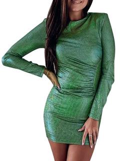 Milanoo / Bodycon Dresses Long Sleeves Casual Jewel Neck Body Conscious Dress Sheath Dress
