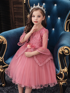 Milanoo / Flower Girl Dresses Jewel Neck Polyester Cotton 3/4 Length Sleeves Knee Length Princess Silhouette Flowers Formal Kids Pageant Dresses