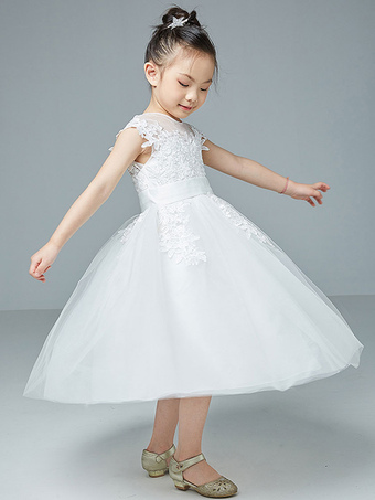 Milanoo / Flower Girl Dresses Jewel Neck Polyester Cotton Sleeveless Knee Length Princess Silhouette Embroidered Kids Social Party Dresses