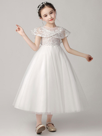 Milanoo / Flower Girl Dresses Jewel Neck Tulle Sleeveless Ankle Length Princess Silhouette Embroidered Kids Party Dresses