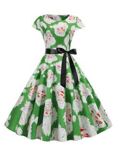 Milanoo / Vintage Dress 1950s Light Green Christmas Pattern Woman Short Sleeves Swing Dress