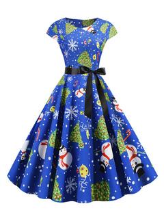 Milanoo / Retro Dress 1950s Blue Christmas Pattern Woman Short Sleeves Swing Dress