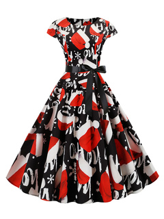 Milanoo / Retro Dress 1950s Black Christmas Pattern Woman Short Sleeves Rockabilly Dress