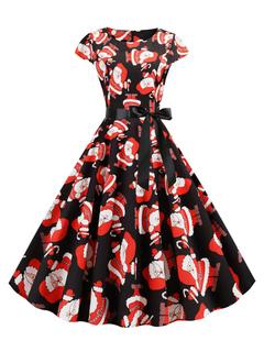 Milanoo / Retro Dress 1950s Short Sleeves Woman Christmas Pattern Swing Dress