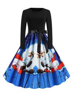 Milanoo / Retro Dress 1950s Blue Christmas Pattern Woman Long Sleeves Swing Dress