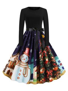 Milanoo / Vintage Dress 1950s Long Sleeves Woman Christmas Pattern Swing Dress