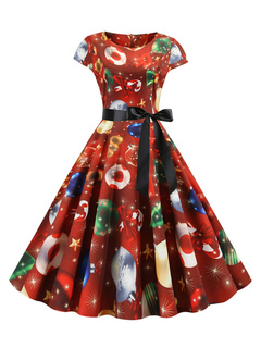 Milanoo / Retro Dress 1950s Dark Red Christmas Pattern Woman Short Sleeves Rockabilly Dress