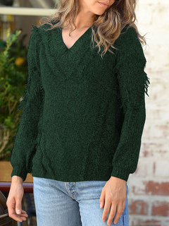 Milanoo / Pullovers For Women Green V Neck Long Sleeves Sweaters
