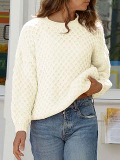 Milanoo / Women Pullover Sweater White Crochet Jewel Neck Long Sleeves Sweaters