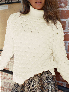 Milanoo / Pullovers For Women White Crochet High Collar Long Sleeves Sweaters