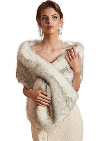 Milanoo / Wedding Faux Fur Wrap Winter Shawl Scarves
