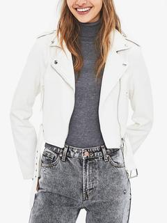 Milanoo / Motorcycle Jacket White PU Leather