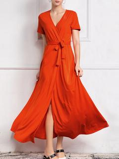 Milanoo / Maxi Dresses Short Sleeves Ture V Neck Knotted Long Dress