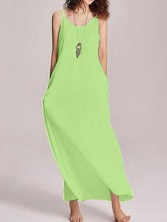 Milanoo / Maxi Dresses Sleeveless Light Green Straps Neck Cotton Blend Floor Length Dress