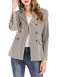 Milanoo / Blazer For Women Chic Cotton Plaid Turndown Collar Buttons Long Sleeves