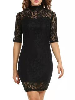 Milanoo / Bodycon Dresses Black High Collar Cut Out Sexy Half Sleeves Pencil Dress