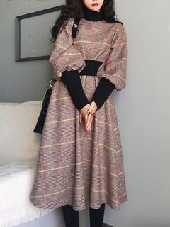 Milanoo / Retro Dress 1950s High Collar Long Sleeves Woman Swing Dress