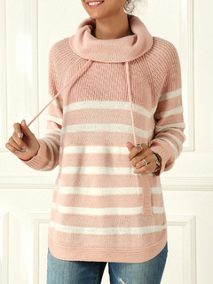 Milanoo / Pullovers For Women Pink Stripes Turndown Collar Long Sleeves Sweaters