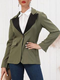 Milanoo / Blazer Chic Polyester Layered V-Neck Buttons Long Sleeves Blazer For Women