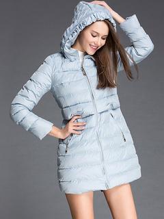 Milanoo / Puffer Coats Light Sky Blue Layered Medium Zipper Hooded Zipper Long Sleeves Casual Thicken Winter Coat Outerwear