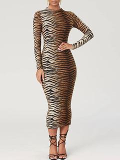 Milanoo / Bodycon Dresses Leopard Print Tiger Print Jewel Neck Casual Long Sleeves Pencil Dress