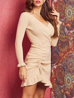 Milanoo / Knitted Dress Beautiful V Neck Long Sleeves Polyester Women Dress