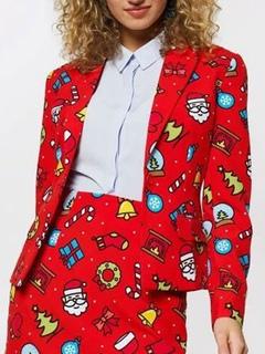 Milanoo / Christmas Women Jacket Turndown Collar Printed Cotton Blend Jacket