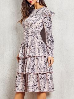 Milanoo / Skater Dresses Jewel Neck Long Sleeves Floral Print Casual Maxi Flared Dress