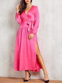 Milanoo / Maxi Dresses Long Sleeves Rose V Neck Maxi High Low Design Polyester Floor Length Dress