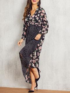 Milanoo / Maxi Dresses Long Sleeves Black Floral Print V Neck Maxi High Low Design Polyester Floor Length Dress