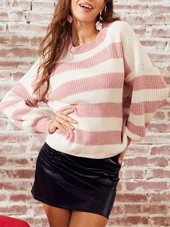Milanoo / Women Pullover Sweater Pink Stripes Jewel Neck Long Sleeves Acrylic Sweaters