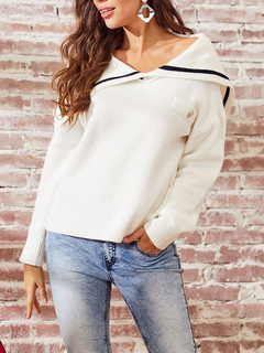 Milanoo / Pullovers For Women White Jewel Neck Long Sleeves Acrylic Sweaters
