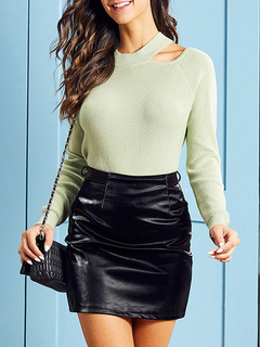 Milanoo / Pullovers For Women Green Jewel Neck Long Sleeves Acrylic Sweaters
