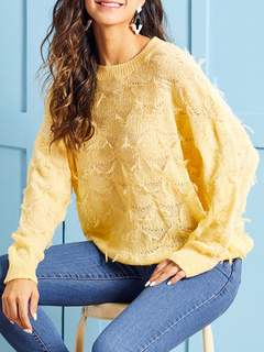 Milanoo / Pullovers For Women Yellow Jewel Neck Long Sleeves Acrylic Sweaters