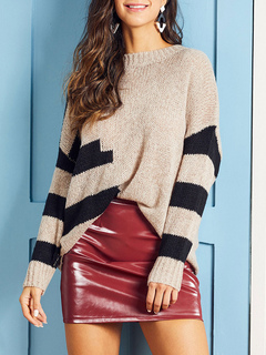 Milanoo / Pullovers For Women Camel Stripes Jewel Neck Long Sleeves Acrylic Sweaters