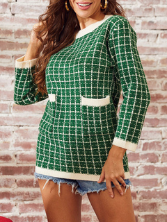 Milanoo / Pullovers For Women Green Plaid Jewel Neck Long Sleeves Acrylic Sweaters