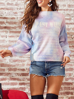Milanoo / Women Pullover Sweater Camouflage Floral Print Jewel Neck Long Sleeves Acrylic Sweaters
