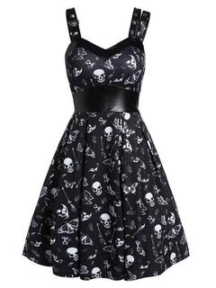 Milanoo / Gothic Vintage Dress Skull Printed Eyelet Leather Patchwork Rockabilly Dress